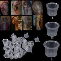 100 Pcs Pro Tattoo Pigment Ink Cup Disposable Transparent Plastic Supplies Tool