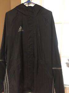 Men Adidas Rain Jacket,  Black, Size XL