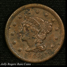 Large Cent Braided Hair. 1848 Circulated.