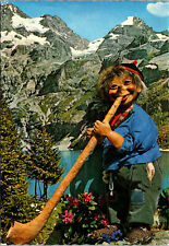 Switzerland Alp Horn Player Character Postcard used with Stamps 1967