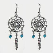 bijou ethnique Boucle oreille attrape-rêves plumes d'aigle rouge perle turquoise