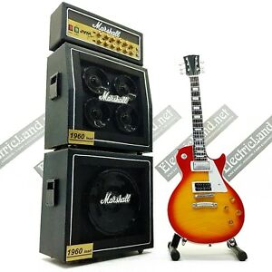Mini Guitar Led Zeppelin Page lp + Amplifier Amp scale 1:4 miniature collectible