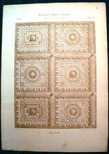 Stampa antica SOFFITTO INTAGLIATO a Cassettoni 1910 Old antique print
