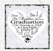 Personalised Graduation School University Heart Plaque Daughter Son Gift Present