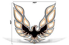 "42"" X 42"" Firebird Hood Graphic Decal Sticker For Pontiac Trans Am ORANGE GREY"