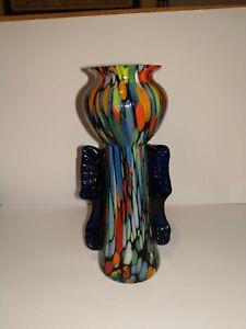 Art Deco Czech Spatter Glass Vase