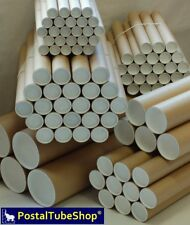 885 x 50mm 10 x Strong Brown Cardboard Postal Tubes Complete with End Caps A0 35