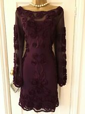 Beautiful Phase Eight, Plum, Tapework, Cocktail, Sheath Dress UK10 *Immaculate*
