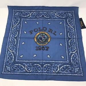 "Polo Ralph Lauren Nautical Logo Blue Bandanna Face Cloth Handkerchief 21""x21"""