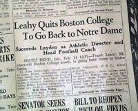 FRANK LEAHY Notre Dame Fighting Irish College FOOTBALL New Coach 1941 Newspaper