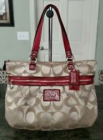 Auth.Coach Sateen Poppy Handbag Tote Purse Large #H1257-F20026 Tan All Occasion