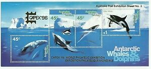 1995  AAT MINI SHEET 'ANTARCTIC WHALES & DOLPHINS' - EMBOSSED 'CAPEX '96'