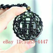 Black Green Jade 囍 Pendant Double-sided Carved Necklace Charm Jewellery Gifts