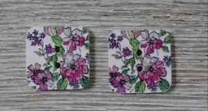 wood square buttons Sewing 2 Holes purple green white 1/2 inch 2Pcs