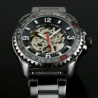 Mens Watch Automatic Black Dial Stainless Steel Case Band Analog Skeleton Luxury