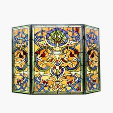 Stained Glass Chloe Lighting Victorian 3 Panel Fireplace Screen Ch1F187Av40-Gfs