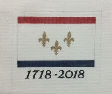 New Orleans Tricentennial Flag hand painted 13 mesh needlepoint canvas