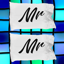 Mr and Mr Pillow Cases ~ 2 White Microfiber Gay Couples Pillowcases