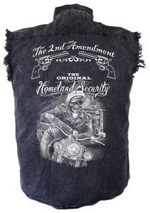 Mens Acid Washed 2nd Amendment Motorcycle Biker Dude Cutoff Biker Shirt