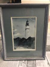 LIGHTHOUSE SEASCAPE Painting, Pisani Original, Beach scenery Watercolor Art