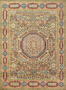 Village Mamluk Rug, 9'x12', Brown/Pink, Hand-Knotted Wool Pile