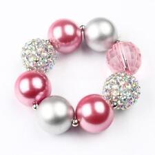 Baby Girls Princess Pink Beaded Bracelet Children Pearl Party Wrist Bangle Gift