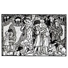 Victorian Christmas UNMOUNTED rubber stamp, detailed Merry Scene, holiday #13