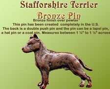Bronze Copper Dog Pin Staffordshire Bull terrier
