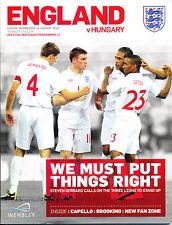 Football Programme England V Hungary 2010