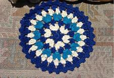 Lovely Colourful Cotton Hand Crochet Lace Doily Round 12cm--Blue