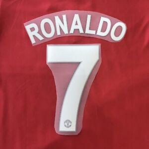 Man Utd RONALDO #7 Football Name & Numbers Set 2008/09 Heat Transfer Printings