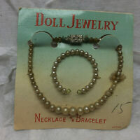 Vintage Doll Jewelry Necklace and Bracelet Made in Japan Original Package