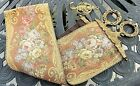 """49"""" Vintage TAPESTRY BELL PULL with Ornate BRASS HARDWARE & HOOK Knight Lion"""