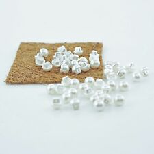 Pack of 50 - 10mm Buttons Round Domed Sewing Crafts Faux Pearl Cream / White