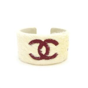 Authentic CHANEL CC Logo Cuff Bangle Calf Hair Bracelet White 01A #S312021