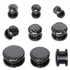 "Ear Plugs 16mm/5/8"" Gauge Body Jewelry Pair-Check 2-Tone Black Acrylic Screw On"