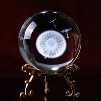 60MM Globe Dandelion Miniatures Crystal Ball 3D Laser Engraved Glass Ball Sphere