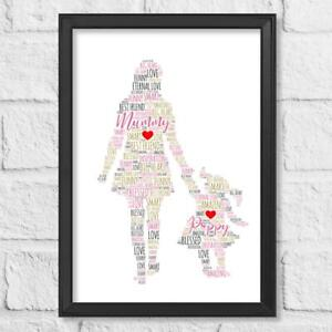 Personalised Mothers Day Present Word Art Gift Print Mother with Daughter