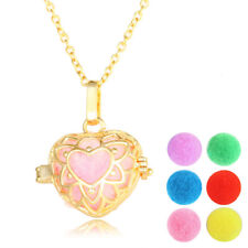 Aromatherapy Essential Oil Diffuser Necklace Pendant Gold Plated Heart Locket