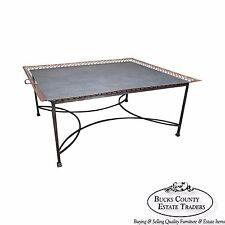 Niermann Weeks Large Regency Silver Leaf Tray Top Steel Frame Coffee Table