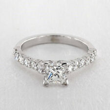 Ring 14K White Gold Rings Size 1.50 Ct Princess Cut Solitaire Diamond Engagement