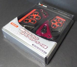 Red Razo GT Pedals Set Black Aluminum Alloy Automatic Universal Car AT 2 PCS JDM