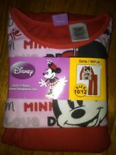 NWT GIRLS 2-PC FLANNEL PAJAMAS - DISNEY MINNIE MOUSE -- SIZE 10/12 RED INK