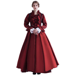 Blessume Victorian Costume Renaissance Dress for Women Ball Gown (Dress &Bustle)