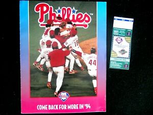 "1993 World Series Tix Stub/ 94' Phila. Phillies Seas Tix App ""Come Back For Mor"""