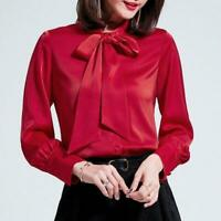 Womens Satin Real Silk Button Down Blouse l2 Top Bow Tie Neck Shirt Long Sleeve