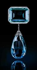Silver Highend Handmade Cz Brooch Pin Aqua Emerald Round Halo Solid 925 Sterling