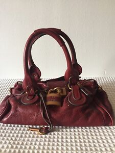 CHLOE PADDINGTON BURGUNDY LEATHER BAG ICONIC.  VERY GOOD CONDITION