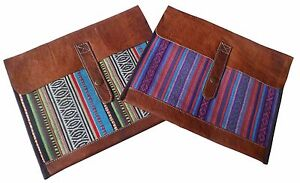 FAIR TRADE HAND MADE NEPALESE GHERI TEXTILE & BUFFALO LEATHER CLUTCH BAG WALLET