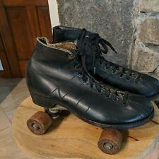 VINTAGE Men's CHICAGO ROLLER SKATES Size 7 Black Leather wood Wheels